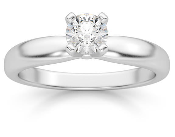 1/3 Carat Diamond Solitaire Ring, 14K White Gold