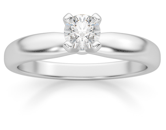 1/4 Carat Diamond Solitaire Ring, 14K White Gold