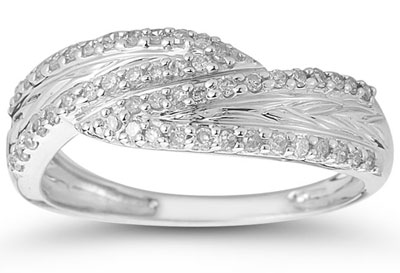 1/4 Carat Diamond Weave Band in 10K White Gold thumbnail