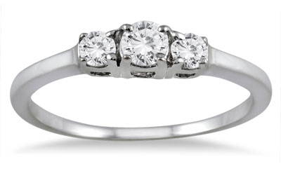 1/4 Carat Three Stone Diamond Ring in 14K White Gold