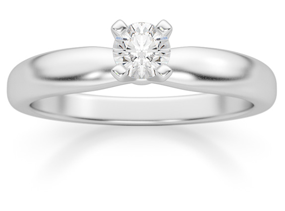 1/5 Carat Diamond Solitaire Ring, 14K White Gold