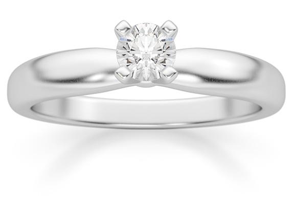 1/5 Carat Diamond Solitaire Ring, 14K White Gold