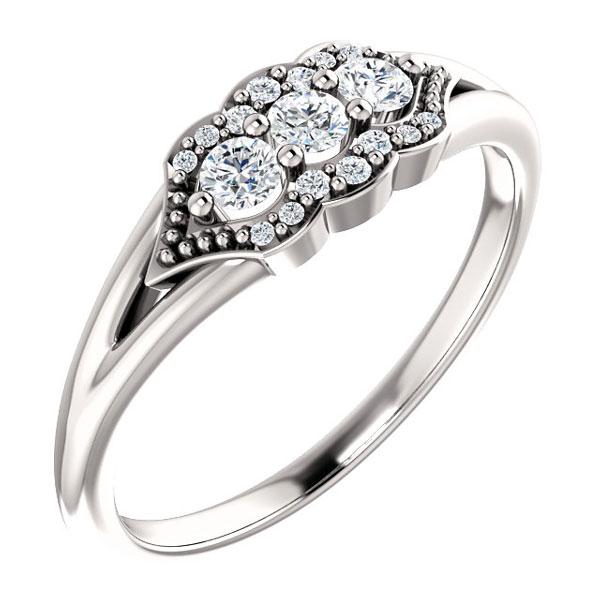 Tri-Setting 3-Stone Diamond Ring, 14K White Gold