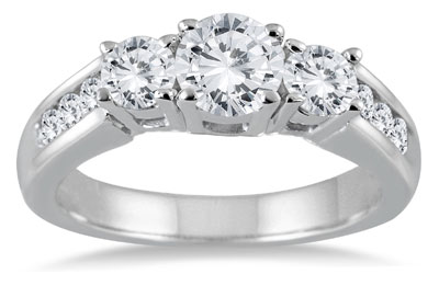 1.50 Carat Three-Stone Diamond Ring in 10K White Gold