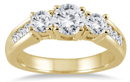 1.50 Carat Three-Stone Diamond Ring in 10K Yellow Gold