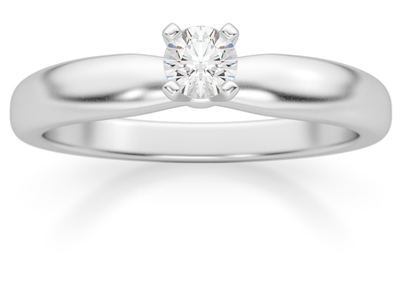 1/6 Carat Diamond Solitaire Ring, 14K White Gold