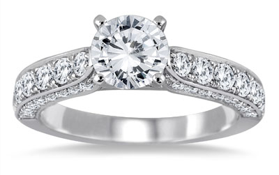 1 7/8 Carat Total Diamond Engagement Ring in 14K White Gold