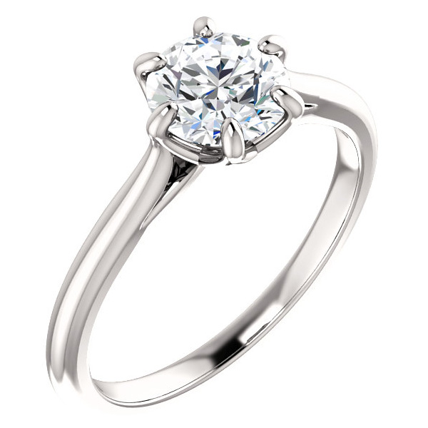 1 Carat 6-Prong Diamond Solitaire Engagement Ring in 14K White Gold
