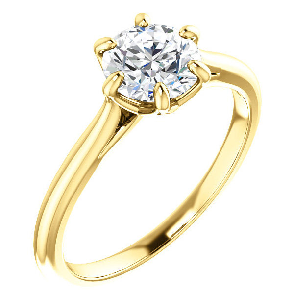 1 Carat 6-Prong Diamond Solitaire Ring, 14K Yellow Gold