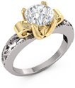Art Deco 1 Carat CZ Ring, 14K Two-Tone Gold