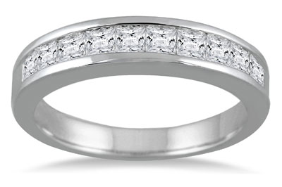 1 Carat Channel Set Princess Cut Diamond Band in 14K White Gold
