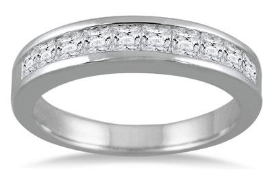 1 Carat Channel Set Princess Cut Diamond Band in 14K White Gold
