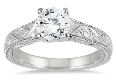 1 Carat Diamond Paisley Engraved Ring, 14K White Gold