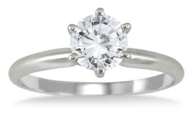 1 Carat Diamond Solitaire Ring, 14K White Gold