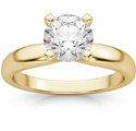 1 Carat Round Diamond Solitaire Ring, 14K Yellow Gold