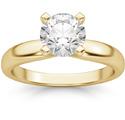 1 Carat Round Diamond Solitaire Ring, 14K Yellow Gold