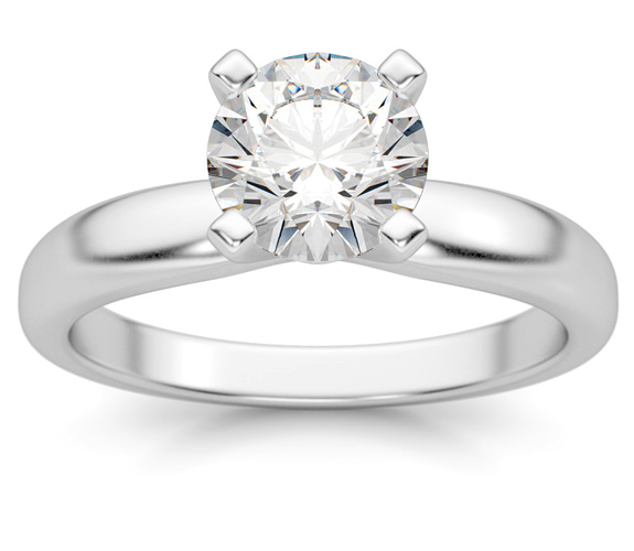 1 Carat White Topaz Solitaire Ring, 14K White Gold
