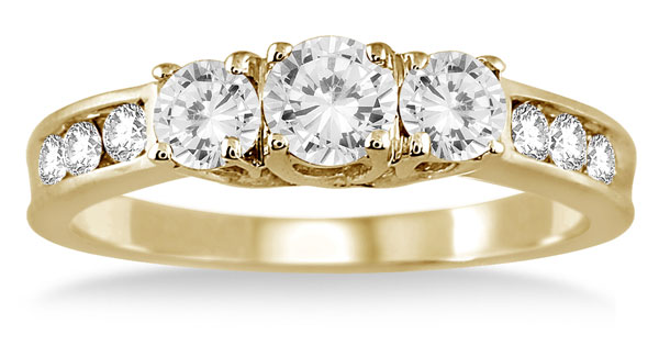 1 Carat Diamond Three Stone Ring in 10K Yellow Gold