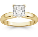 1 Carat Princess Cut Diamond Solitaire Ring, 14K Gold