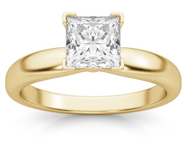 1 Carat Princess Cut Diamond Solitaire Ring, 14K Gold