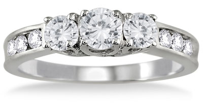 1 Carat Three Stone Diamond Ring with Side Stones, 10K White Gold