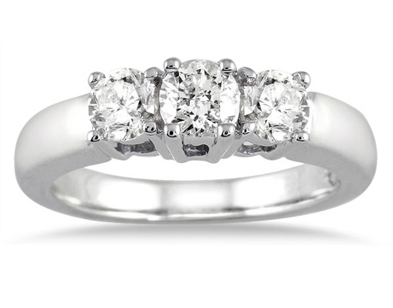 1 Carat Three Stone Diamond Ring, 10K White Gold