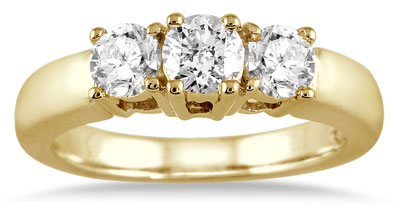 1 Carat Three Stone Diamond Ring, 10K Yellow Gold