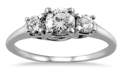 1 Carat Three Stone Diamond Ring, 14K White Gold