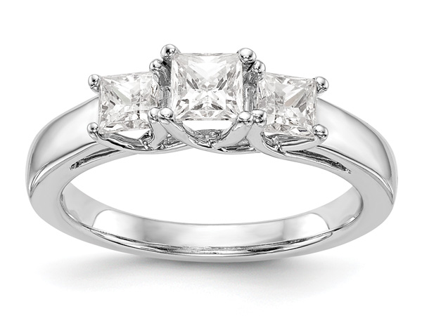 1-Carat Three-Stone Princess-Cut Diamond Engagement Ring