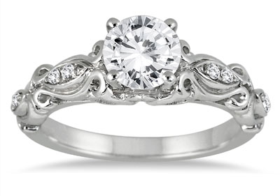 1 Carat VictorianStyle Diamond Engagement Ring in 14K White Gold