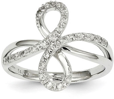 14K White Gold and Diamond Infinity Ring