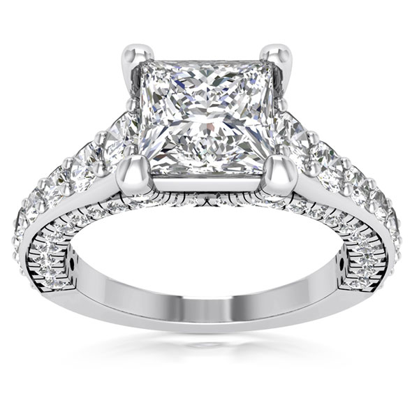2.43 Carat Princess Cut Diamond Virtuoso Engagement Ring