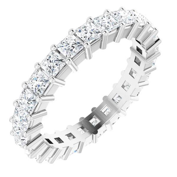 2 1/2 carat princess-cut diamond eternity band, white gold or platinum