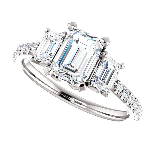 2 Carat Emerald Cut Three Stone Diamond En Ement Ring Item Stlrg   00
