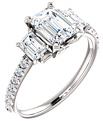 2 Carat Three-Stone Emerald-Cut Moissanite and Diamond Engagement Ring