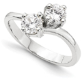Third Carat Only Us 2 Stone Round Diamond Ring in 14K White Gold