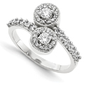 2 Stone Diamond Ring in 14k White Gold Halo Design