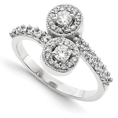 2 Stone Diamond Ring in 14k White Gold Halo Design