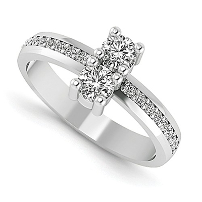 0.20 Carat Two Stone Diamond Ring in 14K White Gold