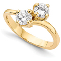 Only Us 2-Stone Round Diamond Ring in 14K Yellow Gold