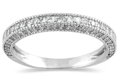 3/4 Carat Antique-Style Diamond Wedding Band in 10K White Gold