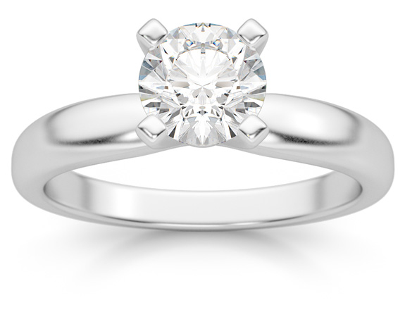 3/4 Carat Diamond Solitaire Ring, 14K White Gold