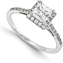 3/4 Carat Princess-Cut Diamond Halo Engagement Ring