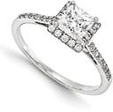3/4 Carat Princess-Cut Diamond Halo Engagement Ring