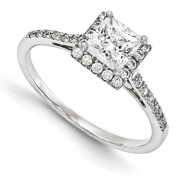 3/4-Carat Princess-Cut Diamond Halo Rng