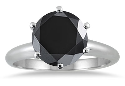 3 3/4 Carat Black Diamond Solitaire Ring in 10k White Gold