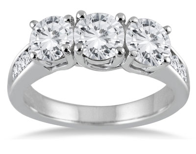 3 Carat Diamond Three Stone Engagement Ring, 14K White Gold