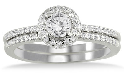 5/8 Carat Diamond Halo Bridal Wedding Ring Set, 10K White Gold