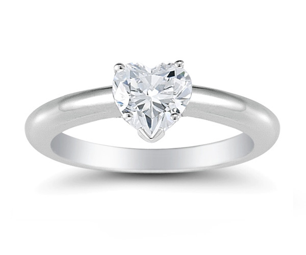 1 Carat Heart Shaped CZ Ring in 14K White Gold
