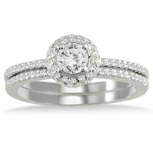 58 Carat Diamond Halo Bridal Wedding Ring Set 10K White Gold